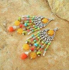 Boho Chandelier Earrings, Turquoise Earrings, Hippie Chic Earrings, Gypsy Style Earrings, Original Handmade Bohemian Jewelry by Kaye Kraus by BohoStyleMe on Etsy