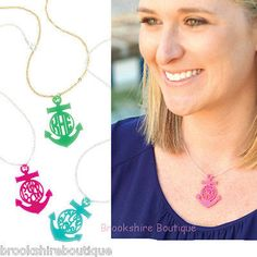 Monogrammed Anchor Necklace – Brookshire Boutique  #monogram #personalized #preppy #nautical