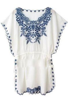 Floral Embroidered Elastic White Dress #ROMWE