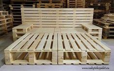 Pallet bed project with storage space. Pallet bed project with storage space. Pallet bed project with storage space. Pallet bed project with storage spa Wooden Pallet Beds, Pallet Bed Frames, Diy Pallet Bed, Diy Pallet Furniture, Diy Pallet Projects, Pallett Bed, Pallet Ideas, Garden Projects, Furniture Plans