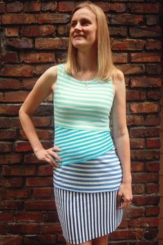Marcy Tilton's shingle dress in ombre stripes from Mood.  #moodfabrics.