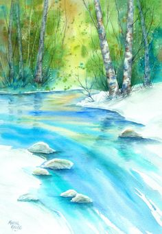 Watercolor of Mountain Stream and Aspen