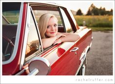 Waverly-Shell Rock Class of 2014 Senior: Michaela - old red vintage car for high school senior shoot