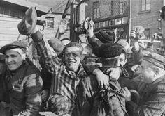 Prisoners of Auschwitz greet their Soviet army liberators, Jan 27, 1945.