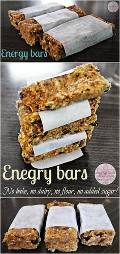 Energy bars - No bake, no dairy, no flour, no added sugar! - Anna Can Do It!
