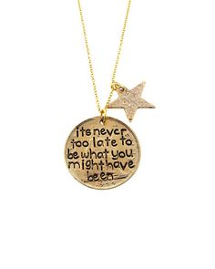 Gold Never Too Late Necklace - JewelMint Jewelry Box, Jewlery, Jewelry Accessories, Fashion Accessories, I Feel Pretty, All That Glitters, Good Thoughts, Meaningful Quotes, Just Love