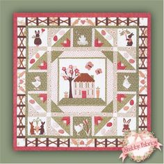 """Carrot Patch - Set of 6 Patterns: Carrots are popping up all over this quilt! Carrot Patch by The Quilt Company is a darling carrot patch-themed quilt, complete with rabbits, chicks, and, of course, lots of carrots. This appliqued and pieced quilt finishes to 66"""" x 66"""". Pattern includes all instructions."""