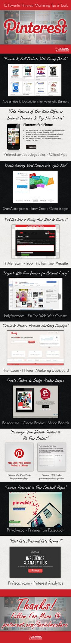 10 Powerful #Pinterest Marketing Tips & Tools #Infographic - Download a full PDF version with working links here - http://themodernentrepreneur.com/10-powerful-pinterest-marketing-tips-tools-infographic/?pd