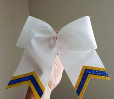 Yellow Gold and Blue Triple Sparkle Softball Bow by HairySituation