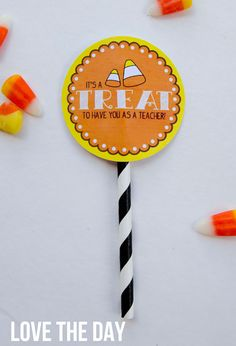 Candy Corn Teacher Gift Tag:: FREE PRINTABLE by Love The Day