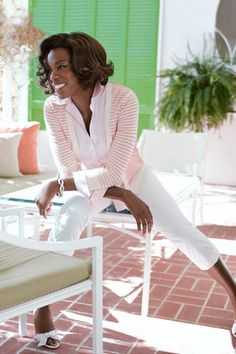 Love the preppy pink and white combo