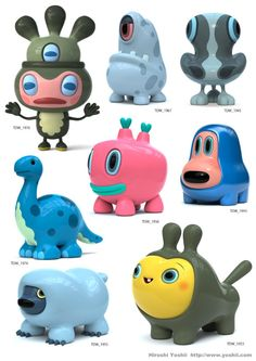 The Daily Work - Hiroshi Yoshii Toy Art, Vinyl Toys, Vinyl Art, Cute Characters, Cartoon Characters, Arte Robot, Japanese Toys, Cute Monsters, 3d Models