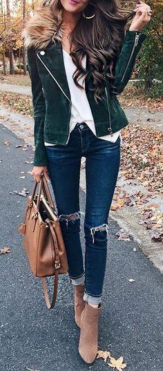 8f748ed665c8 #winter #fashion / Green Velvet Jacket / Navy Skinny Jeans / White Blouse /