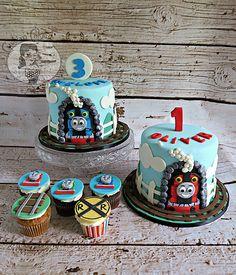 Thomas the Train Engine Cake - Thomas and Friends cupcakes - birthday cake - smash cake - railroad cupcakes - train cake - Custom Cakes by Chelsea