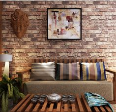 **green from plant as wall color in Dan's house** Blooming Wall: Cultural Faux Rustic Tuscan Brick Wall Wallpaper for Walls Wall Paper Roll, Sq. Vinyl Wallpaper, Brick Wall Wallpaper, Washable Wallpaper, Rustic Wallpaper, Stone Wallpaper, Cheap Wallpaper, Embossed Wallpaper, Room Wallpaper, Wooden Accent Wall