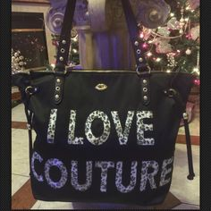$SALE$ Juicy Couture Black Purse Cheetah Tote Bag Womans Brand New with Tags Juicy Couture I Love Couture Tote Handbag Accented with Sequence   This has room for Plenty  I Top Zipper Close           Interior Wall Zip Pocket     2 Wall Pockets         There is so much Room in this Bag & it's Gorgeous.    Faux Leather & Studs. Juicy Couture Bags Totes