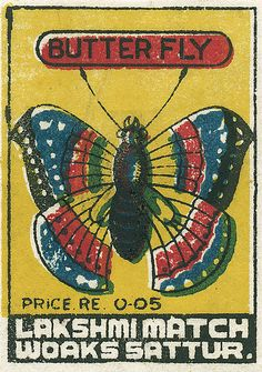 Indian matchbox label via Shailesh Chavda Vintage Labels, Vintage Posters, Illustrations, Graphic Illustration, Book Labels, Matchbox Art, Dragonfly Art, Vintage Fur, Vintage India