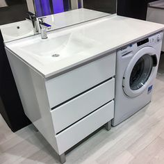 Furniture KORA LL 124 cm washbasin offset right - Bright White - Laundry In Bathroom, Basement Bathroom, Bathroom Interior, Minimalist Bathroom, Modern Bathroom, Small Bathroom Renovations, Bathrooms, Vanity Units, Bathroom Layout