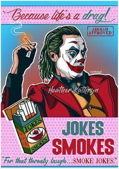 Comic Book Style, Comic Books Art, Joker Dc Comics, Smoke Art, Arkham Asylum, Portrait Art, Jokes, Laughing, Art Prints