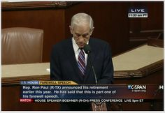 Ron Paul's farewell address.  We desperately need more truth-tellers in our Executive and Legislative branches!