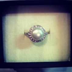 Pearl ring with halo. I've been obsessing with pearl rings lately!