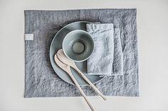 Set of 6 dark grey - graphite  linen placemats