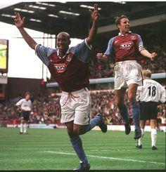 Dion Dublin scoring on his debut against Spurs Aston Villa Players, Super Club, Aston Villa Fc, Football Pictures, My Church, First World, Dublin, History, Sports