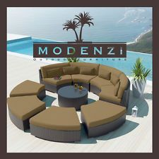 MODENZI MODERN 9R DarkBrown Wicker outdoor Sofa Patio Furniture Set Couch Chaise