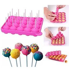 Silicone Mold For Cake Pop, Hard Candy, Lollipop And Party Cupcake With Paper Sticks Recipe Included Cupcake Mold, Cupcake Party, Cake Pops, Cake Pop Molds, Lollipop Cake, Cake Pop Maker, Candy Molds Silicone, Colorful Cakes, Novelty Cakes