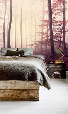 self adhesive wallpaper, removable wallpaper, wall mural, wall décor, misty forest, wallcovering, landscape, peel & stick