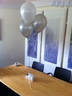 Tafeldecoratie 3ballonnen Zilver en Wit