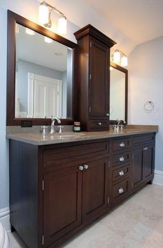 Master bathroom with cabinet and drawer between his and her mirrors decor, bathroom renovations, cabinet design, bathroom designs, master bathrooms, bathroom ideas, master baths, bathroom cabinets, bath design