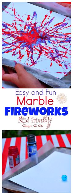 Marble Painting Craft Easy and Fun Activity for Kids Fireworks Marble Painting Craft Easy and Fun for Kids - Perfect for patriotic holidays like the Fourth of July, Summer Bonfire Nights, and New Year's Eve with the kids! 4th July Crafts, Patriotic Crafts, Fourth Of July Crafts For Kids, Patriotic Party, Fouth Of July Crafts, Fireworks Craft For Kids, Fireworks Art, 4th Of July Games, Toddler Art