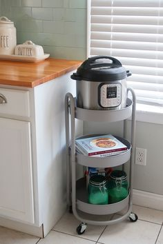 Cheap Home Decor Instant Pot storage cart. Small space solutions for storing your instant pot and accessories.Cheap Home Decor Instant Pot storage cart. Small space solutions for storing your instant pot and accessories. Kitchen Pantry, New Kitchen, Kitchen Appliances, Kitchen Ideas, Kitchen Cabinets, Awesome Kitchen, Small Kitchen Cart, Hidden Kitchen, Beautiful Kitchen