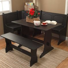 Black Kitchen Dining Room Wood Corner Breakfast Nook Table & Bench Chair 3PC Set
