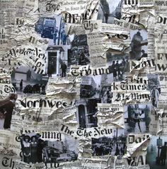 """""""Breaking News"""" : Collages sur toile sur le thème de Londres - format 80x80 cm. Composé d'images vintage et de journaux. : Collages par val-papers"""