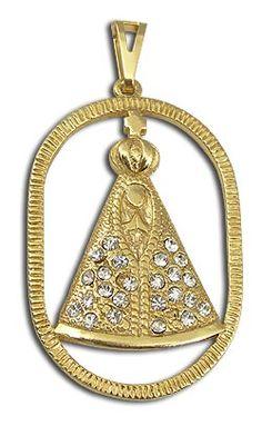 Pingente de Nossa Senhora Aparecida folheado a ouro com strass  Código: PS0294