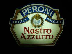 Insegna luminosa vintage birra Peroni nastro azzurro speciale tabella smaltata