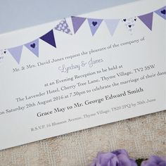 Sarah Alexis Stationery: Love Birds Collection - Evening Invitation, Lilac Bunting, Wedding Cake