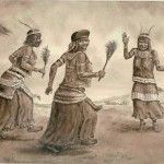 Bhaca women sing and dance at the First Fruits ceremony, as depicted by the artist Gerard Bhengu.
