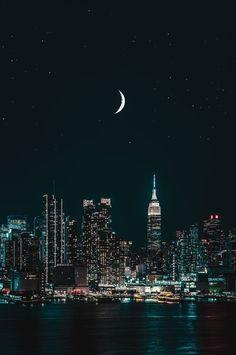 Moon Over NYC at Night