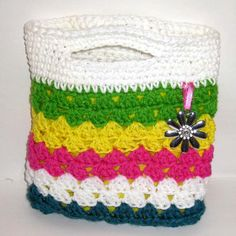 Girls Bright and Fun Multicolor Spring or Summer Lined Tote Bag Purse Handmade Crochet
