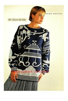 Lady's sweater knitting pattern DK. Japanese garden, intarsia, picture knitting. Sweater Knitting Patterns, Double Knitting, Sweaters For Women, How To Wear, Tops, Fashion, Moda, Fashion Styles, Fashion Illustrations