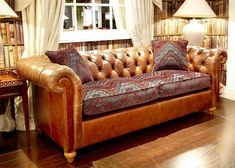 Duresta Connaught sofa from George Tannahill & Sons - Large tan leather sofas. Classic Leather, Soft Leather, Tan Leather Sofas, Vintage Sofa, Living Room Inspiration, Leather Design, Sofa Design, Sofa Ideas, Couch