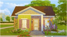 Sunflower Cottage Starter By request, here is the colorful cottage! It's been quite a process of first uploading my own cc that hadn't been shared and then write up the miles long cc shopping list....