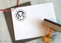 Round initial address stamp from Relish Design Studio