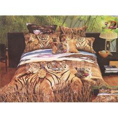 Hnedé bavlnené posteľné obliečky s motívom tigrov