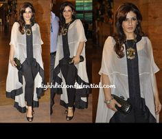 raveena-tandon-world-compassion-day Simple Dresses, Casual Dresses, Fashion Dresses, African Print Fashion, Indian Fashion, Black And White High Heels, Fancy Tops, Classy Casual, Western Dresses