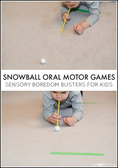 Snowball Oral Motor Sensory Games - always amazed how simple play ideas can keep kids busy for such a long periods of time!