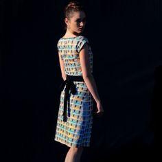 Shift Dress, designed by s.wert, textile design inspired by a facade from Oscar Niemeyer in Berlin, Hansaviertel, http://www.s-wert-design.de